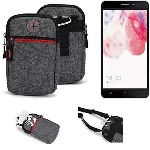 K-S-Trade® Gürtel-Tasche Für Hisense F20 Dual-SIM Handy-Tasche Schutz-hülle Grau Zusatzfächer 1x