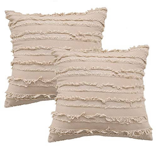 Decorative Throw Pillow Covers for Couch Sofa Bed, Soft Cotton Linen Cushion Covers with Decor Fringe, Accent Pillow Cases for Bed, 18 x 18 Inches, Pack of 2, Khaki