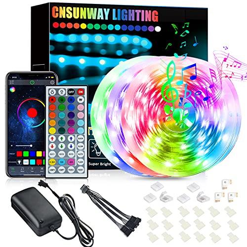 Tiras Led Bluetooth, CNSUNWAY 18m RGB Tiras de Luces con 44 Teclas de Control Remoto IR, Tiras de LED Control APP, 24V Tiras led Musica Iluminación, para Dormitorio Sala TV Bar Fiesta Decoración