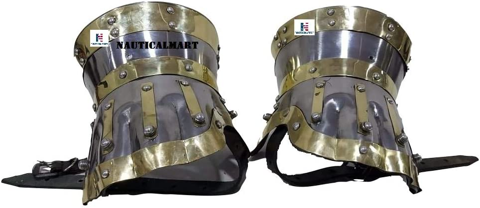 Nautical-Mart Armor Baltimore Mall Gauntlets Steel Accents Brass Las Vegas Mall Pair w
