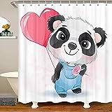 Panda Duschvorhänge Aquarell Panda Muster Badevorhänge für Kinder Jungen Mädchen Ballon- & Blumendekor wasserdichte Badezimmervorhänge mit 12 Haken Anzüge für Badewanne, 72