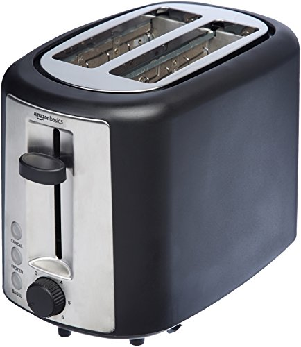 Amazon Basics 2 Slice, Extra-Wide Slot Toaster with 6 Shade Settings, Black