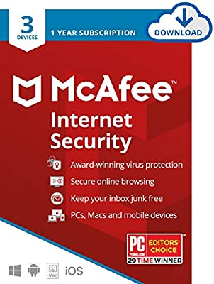 McAfee Internet Security 2020 Antivirus Software, 3 Device Password Protection, 1 Year - Download Code