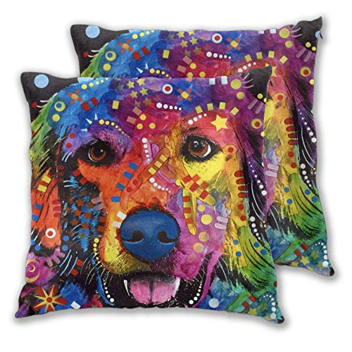 ainidamiss Colorful Golden Retriever Dog Throw Pillow Covers Double Faced Pillow Cases Decorative Pillowcase with Zipper Without Insert 2 pcs for Sofa, Car, Office, Bed, Chair