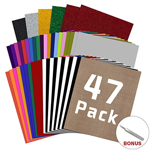 Best Review Of HTV Heat Transfer Vinyl Bundle: 47 Pack 12 x 10 Iron on Vinyl for T-Shirt, 32 Assor...