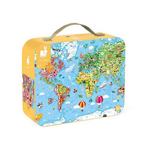 Janod- Puzzle Gigante per Bambini Mondo 300 Pezzi-Gioco educativo-Sviluppo della motricità fine e della concentrazione-Dall'età di 7 Anni, J02656