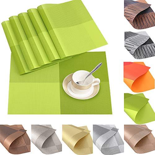 6er Set Platzsets Platzdeckchen Rutschfest Abwaschbar Tischmatten aus PVC Abgrifffeste Hitzebeständig Tischsets Schmutzabweisend (PVC-Grün)