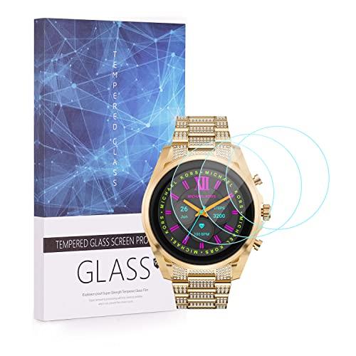 Protector de pantalla de Michael Kors Gen 6, Huafly 9H de cobertura completa Protector de pantalla de vidrio templado compatible con Michael Kors Gen 6 Smartwatch (paquete de 3)