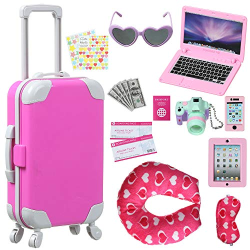 Spofew 18 PCS Doll Suitcase for 18 Inch Doll, Doll Suitcase Luggage Travel Play Set for Girl 18 Inch Doll Travel Carrier Storage, Including Suitcase, Camera, Phone, Ipad,ect