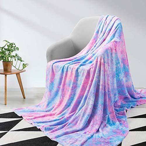 Elegear Kuscheldecke Mädchen Decke Tie Dye Decke Sofa Weiche Fleecedecke Flauschige Decke Warm Sofadecke Couchdecke Einzigartig Wohndecke Hautfreundlich Kinder Kuscheldecke Mikrofaser Lila 130 x 150cm