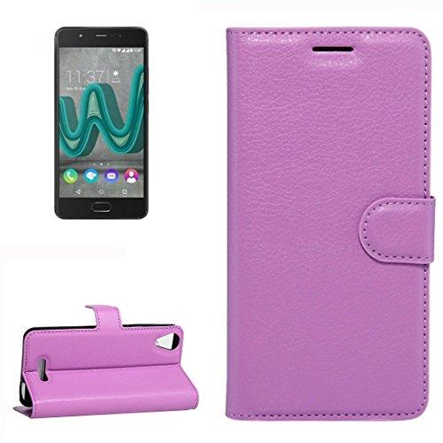 YUCPING Handyhülle Litchi Texture Horizontal Riff Ledertasche Mit Halter und Card Slots und Geldbörse for Wiko U Feel Go (Color : Purple)