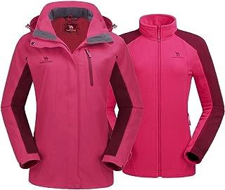 CAMEL CROWN Women's Ski Jacket Winter Jacket Waterproof 3 in 1 Mountain Coat Windproof Hooded with Inner Warm Fleece Coat