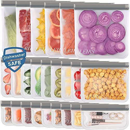 Dishwasher Safe Reusable Food Storage Bags 24 Pack ( 6 Reusable Gallon...