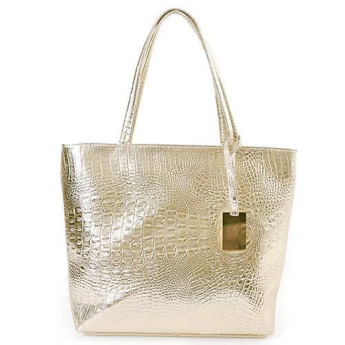 Valentoria, zum Vatertag mit Week-handicrafts echtes Leder in Krokodillederoptik, Damen, modern, handgefertigt, Einkaufstasche, Handtasche, Schultertasche, Handtasche Gold Gold