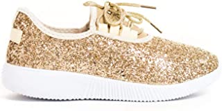 Soho Shoes Women's Glitter Lace Up Fashion Sneakers Casual Dressy Versatile Rigged Lightweight Sneaker