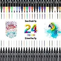 Rotuladores de Punta Doble, 24 Colores Rotuladores Punta Pincel, Pinceles Acuarela para Dibujo, Boceto, Diseño, Firma, Cómic (Negro)