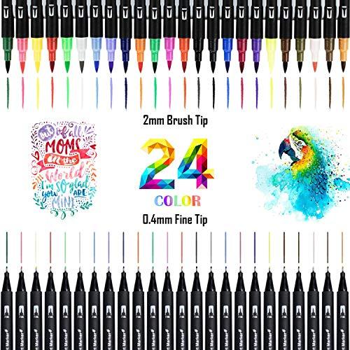 Dual Brush Pen Set, 24 Aquarell Farben Pinselstifte, Watercolor Kombimaler, Filzstifte für Bullet Journal Zubehör, Kalligraphie, Hand-Lettering,Fasermaler[1-2 mm] und Fineliner[0,4 mm]