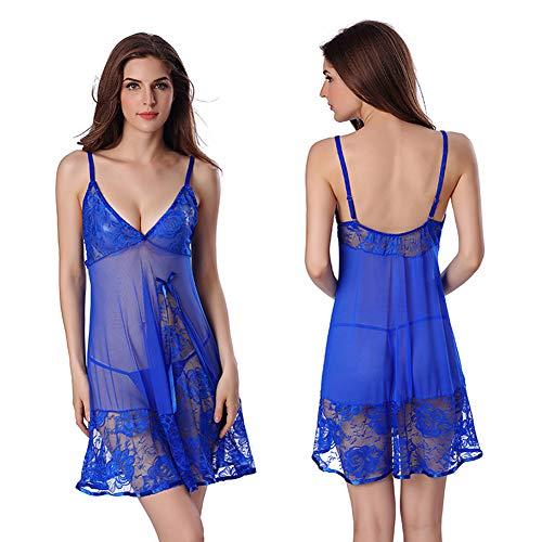 DAZUE Lace Edge Perspective Weibliches Nachthemd Kurzer Rock Straps Kleid Robe Sexy Erotic Dessous,Blue-XL