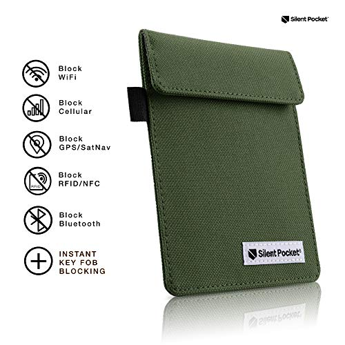 Silent Pocket Signal Blocking Faraday Key Fob Case - Car Anti Theft Device Shielding Against All Signal Types, Including RFID Blocking & Durable Faraday Bag, Fits Most Car Keyfobs (Olive, X-Small)