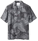 28 Palms Men's Relaxed-Fit Silk/Linen Tropical Leaves Jacquard Shirt, Black, Large