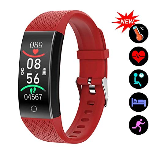Fitness Tracker-Thermometer, Armband Met Temperatuurrecorder, Intelligente Activity Tracker Voor Hartslag, Slaapmonitor, Calorie-Oefeningen, Smartwatch Voor Dames Of Heren,Red