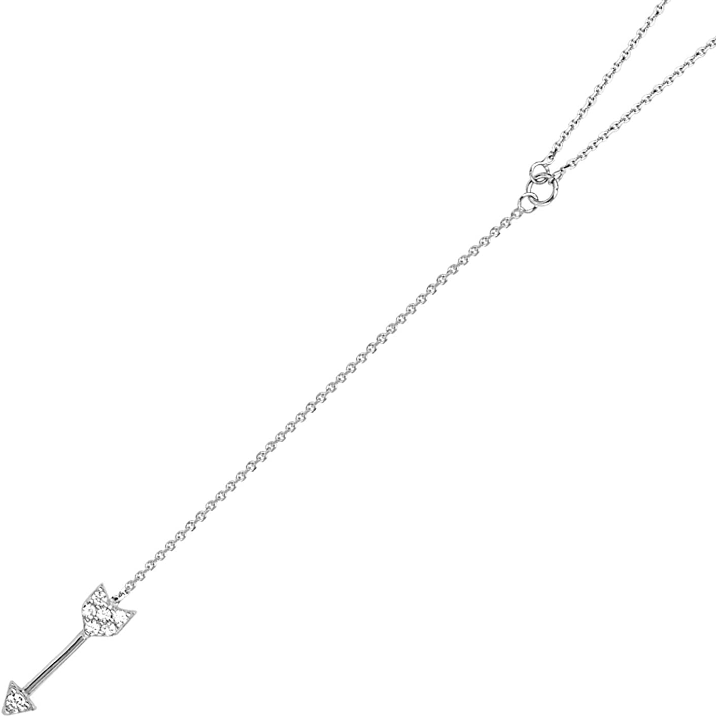 Y-style Lariat Arrow Necklace with Cubic Zirconia Adjustable Length 14k White Gold