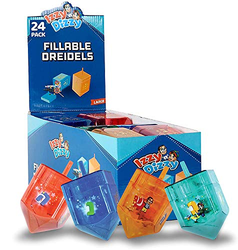 Izzy 'n' Dizzy 24-Pack Fillable Dreidels - Large 4 x 2.5 Inch - Great for Chocolate Coins and Candy - Assorted Colors