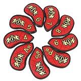 SM SunniMix Set 9 Golf Protector Club Iron Head Cover Headcover - Impermeable Y Duradero - Rojo, Tal como se Describe