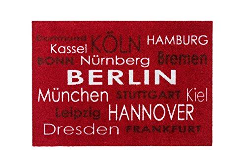 Bavaria Home Style Collection - Fussmatte Städte - Schuhabtreter - Dortmund Kassel Köln Bonn Hamburg Bremen Nürnberg Berlin München Stuttgart Kiel Leipzig Hannover Dresden Frankfurt - rot