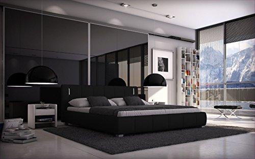 SEDEX Bett Luna 140x200 cm inkl. LED/Doppelbett/Polsterbett/Designerbett/Hotelbett/Kunstleder - schwarz