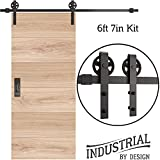 INDUSTRIAL BY DESIGN  6ft 7in Single Sliding Barn Door Hardware Kit (Spoke Wheel)  Ultra Quiet, Designers Choice, All Parts Included, Easy Installation with DIY Video Instructions