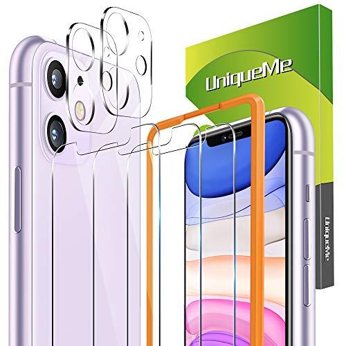 UniqueMe [3+2 Stück] Schutzfolie für iPhone 11 6,1 Zoll Panzerglas mit Installationswerkzeug + iPhone 11 Kamera Panzerglas Displayschutzfolie.