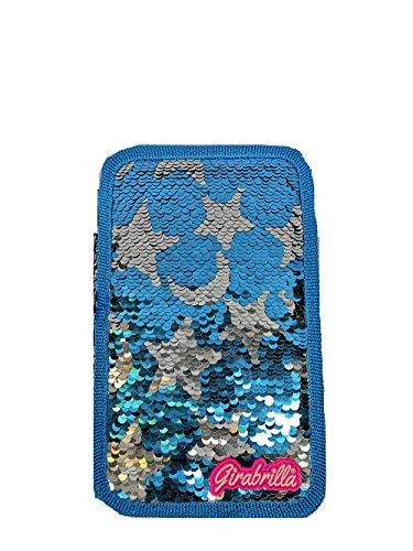 Astuccio Scuola Triplo Girabrilla 3 Zip Pieno Grafica a Stelle Blu Argento Paillettes Reversibili