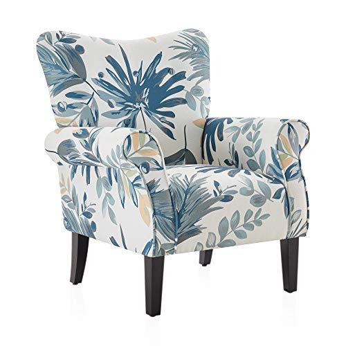 BELLEZE Modern Accent Chair Roll Arm Living Room Cushion Fabric w/Wooden Leg, Blue Floral
