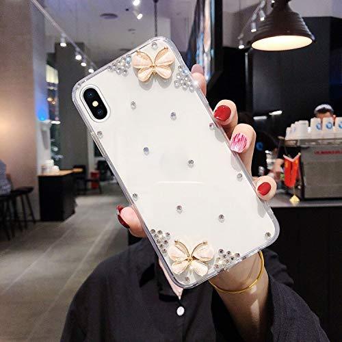 Uposao Kompatibel mit iPhone XS Max Hülle Case Glänzend Kristall Strass Diamant Bling Silikon Handyhülle Schmetterling Blumen Ultradünn Weiche Durchsichtige Schutzhülle,Weiß