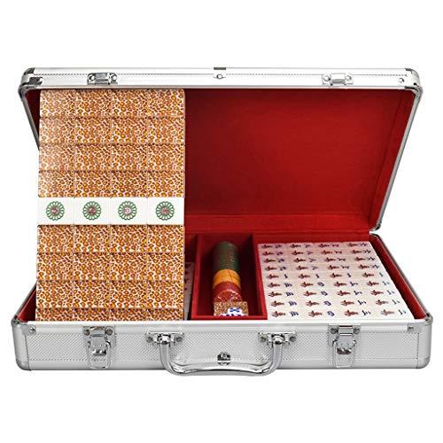 GuanJan Crystal Mahjong Merk Huishoudelijke Grote Mahjong Tegels 35mm (6.5 Punten) Mahjong Aluminium Doos Mahjong Doek Tegel Reizen Set