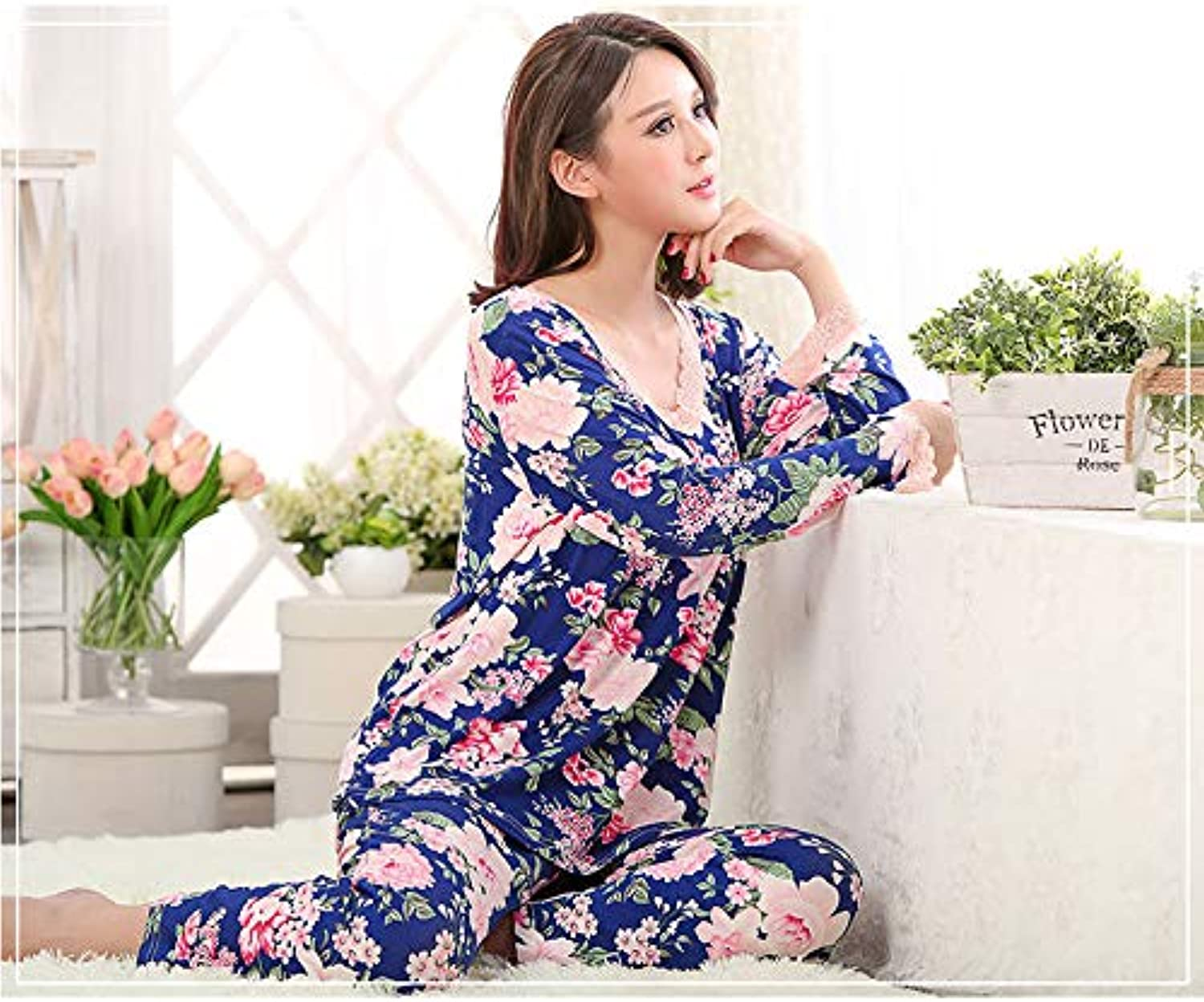IANXI Home Spring and Autumn Modal Ladies Cotton LongSleeved MiddleAged Pajamas Set XL MiddleAged Mother Home Service (Size   XXL140160)