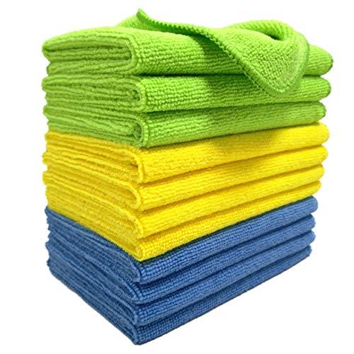 Polyte - Mikrofaser-Reinigungstücher - Blau, grün, gelb - 31 x 41 cm (12 Stück)