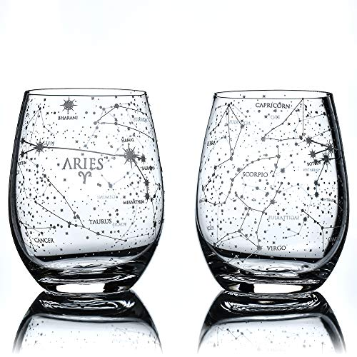 Greenline Goods Aries Stemless Wine Glasses | Zodiac Aries Set | Hand Etched 15 oz (Set of 2) - Astrology Sign Glassware
