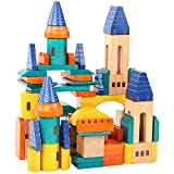 Wooden Castle Building Blocks Set-Stacking Wood Castle Blocks Educational Toy Set for Toddlers, Fantasy Medieval Bridges and Arches, Wooden Blocks for Kids Ages 3-8