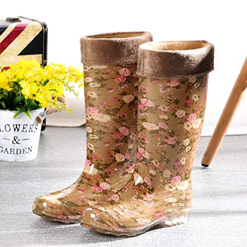 Wellies Rubberlaarzen, voorjaar en herfst, warme regenlaarzen, gele bloemen, waterdichte lange pijpen, schoenen, dames, rubber, schoenen, werk, verzekering, antislip, geel, bedrukt