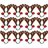 Max Fun 12Pcs Christmas Reindeer Antlers Headband Deer for Christmas Holiday Kid's Party Favors