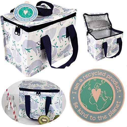 LS-Design Mini Kühltasche Faultier Thermotasche recycelt Lunchbag Kühlbox Retro Vintage