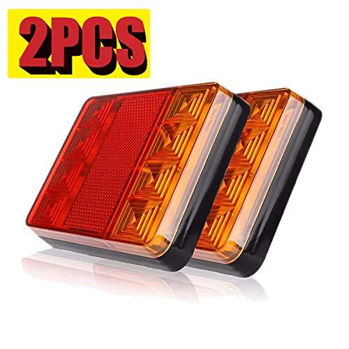 2pcs Luces Pilotos Traseras Remolque LED Piloto Freno de Señal Impermeable Ambar Lámpara de Matrícula Placa Indicador Luces de Cola para Caravana Coche Camión Barco Tractor 12V (8LED)