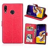 Asus Zenfone 5 2018 Hülle, SATURCASE Glatt PU Lederhülle Magnetverschluss Brieftasche Standfunktion Handy Tasche Schutzhülle Handyhülle Hülle für Asus Zenfone 5 ZE620KL/Zenfone 5z ZS620KL (Rot)