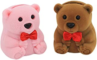 Naimo 2pcs Velvet Mini Bear Display Box Ring Pendant Earring Boxes Storage Case Gift Box for Proposal Engagement Wedding