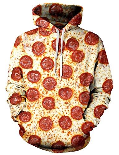 Loveternal Speck Pizza Hoodie 3D Digital Print Pullover Langarm Sweatshirt für Frauen Männer mit Kordelzug XL