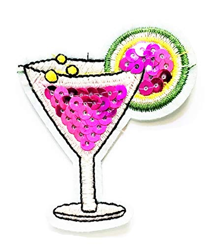 Nipitshop Patches Pink Glass Cocktail with Sequins Patch Flute Wine Cocktail Cartoon Embroidered Patches for Men Women Boys Girls Kids