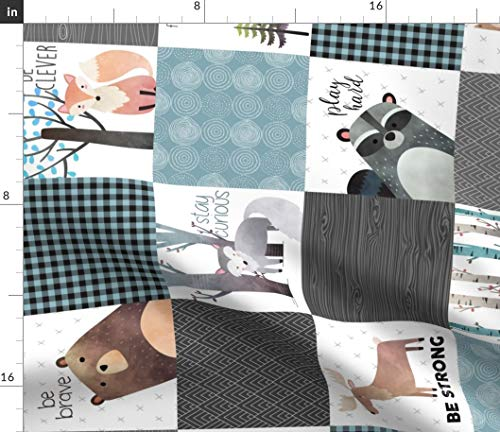 Spoonflower Fabric - Woodland Patchwork Quilt Rotated Bear Moose Fox Raccoon Wolf Gray & Printed on Minky Fabric by The Yard - Sewing Baby Blankets Quilt Backing Plush Toys