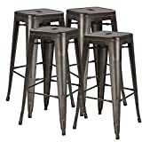 Waleaf 30 inches Metal Stools Indoor/Outdoor Counter Height Stackable Bar Stool Modern Style Restaurant Cafe Chic Bistro Side Stool. Set of 4 (Gun Metal)